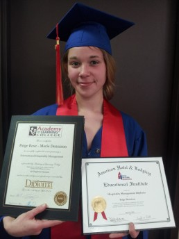 Kingston Campus graduate Paige Dennison secured employment after graduating with a International Hospitality Management diploma.